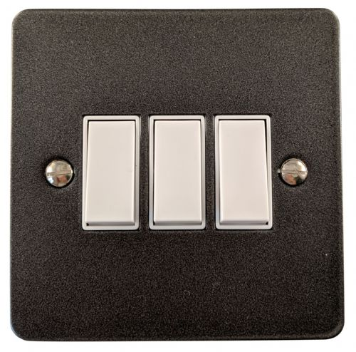 G&H FP3W Flat Plate Pewter 3 Gang 1 or 2 Way Rocker Light Switch